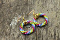Rainbow hoop earrings, Multicolor beaded rope earrings, Gold color detail, Rainbow mood, Gift for her