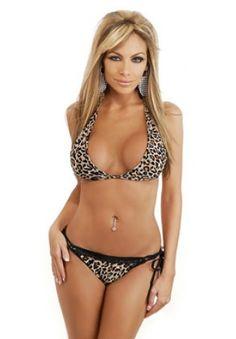 44cc8e3b1a Sexy Halter Neck Leopard Print Swimwear Bikini with Scrunch Back Sexy Bra