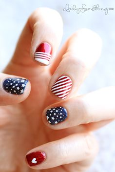 Put your accent nail in a new spot by popping a heart on your pinky to show just how much you love your country.  See more on Daily Something »