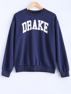 Loose Fitting Letter Pattern Drake Sweatshirt - CADETBLUE M