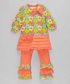 Take a look at this Orange Feeling Groovy Tunic & Ruffle Pants - Toddler & Girls by Trish Scully Child on #zulily today!