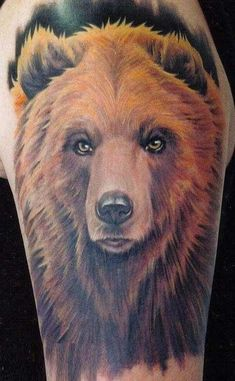 Wonderful watercolor bear tattoo
