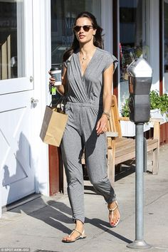 Caffeine fix: Alessandra Ambrosio enjoyed a casual day out on Saturday, grabbing coffee in...