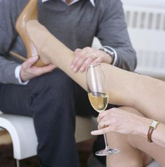 After you've served her champagne it's time to attend to her tired feet.