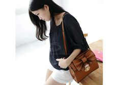 Cheap Sweet Women's Tote Bag With Solid Color and Bowknot Design (CAMEL), Tote Bags - Rosewholesale.com