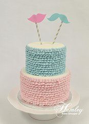 Gender Reveal Party: Two-Tiered Ruffled Pink and Blue Gender Reveal Cake