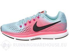 Chaussures Femme Nike Zoom Pegasus 34 2A (Étroite) Bleu/Rose | Running Warehouse Europe
