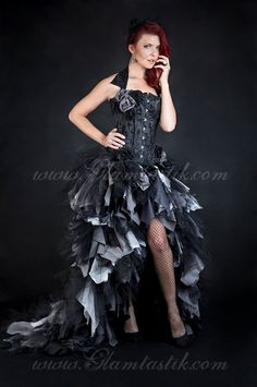 Custom Size Black and gray High Low tulle Burlesque door Glamtastik, $899.00