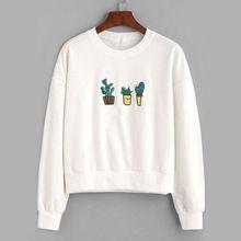 White letter and cactus embroidered sweatshirt mobile site blusa moleton, jaqueta, roupas fofas, Cute Sweatshirts, Cute Shirts, Teen Fashion, Fashion Outfits, Hipster Fashion, Fashion Wear, Fashion Styles, Fashion Boots, Fall Fashion