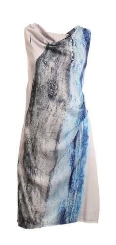 Helmut Lang Gray Sleeveless Cowl Neck Straight Waist Frayed Hemline Silk Dress Size 10