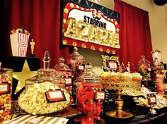 Hollywood theme, candy table, candy bar party, candy buffet, sweet 16 p Hollywood Candy, Hollywood Sweet 16, Hollywood Theme, Hollywood Wedding, Candy Buffet Tables, Candy Table, Dessert Table, A Table, 50th Birthday Party Themes