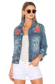 BLANKNYC Embroidered Denim Jacket in Wild Child