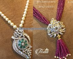 Diamond Pendants with Pearl Ruby Beads Strings