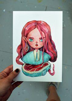 Small Artworks 2018 on Behance Watercolor Illustration, Watercolor Art, Art Sketches, Art Drawings, Arte Sketchbook, Human Art, Anime Art Girl, Character Illustration, Aesthetic Art
