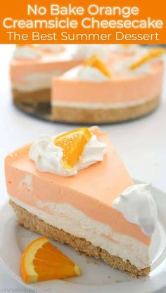 This No Bake Orange Creamsicle Cheesecake is the BEST Summer dessert! Mini Desserts, No Bake Summer Desserts, Chocolate Desserts, Chocolate Caramels, Oreo Cheesecake, Cheesecake Recipes, Dessert Recipes, Cheesecake Squares, Homemade Cheesecake