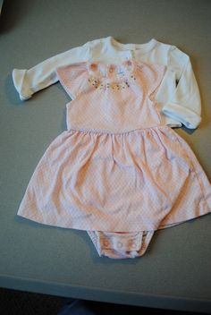 ad Carter s baby girls jacket and dress set peach  amp  white Sz 12 months 404d7b98f