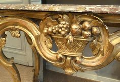 Louis XV Provençal style Console, carved flowers and fruit decor. Genuine gilding and marble top. For sale on Proantic by Antiquités Flipo. #louisXV #console #18thcentury
