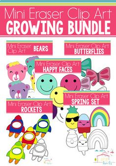 Looking for the perfect clip art to use with your mini erasers? These clip art sets are formatted to coordinate with the mini erasers that were found in the Target Dollar Spot. This is a GROWING BUNDLE. The price will continue to rise as new sets are made.
