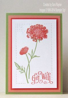 handmade get well card: white and red with green accents ... large field flowers ... luv the pierced edge with corner detailing ... like it! ... Stampin'Up!