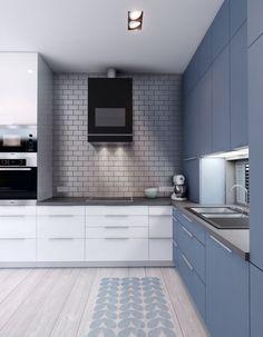 blue and grey modern kitchen interior design