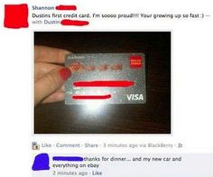 This lovely hahahapicture of a new credit card: | 26 Pictures That Will Make You Scared For The Future
