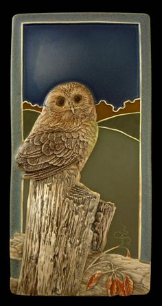 Art tile, Ceramic, Sculpted tile, Saw whet owl 4x 8 inches by MedicineBluffStudio on Etsy