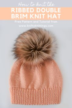Cabled Hat & Mittens - Free Pattern Ribbed Double Brim Knit Hat - Free pattern and tutorial from Knifty Knittings for Yarnspirations.Ribbed Double Brim Knit Hat - Free pattern and tutorial from Knifty Knittings for Yarnspirations. Knitting Patterns Free, Free Knitting, Free Pattern, Crochet Patterns, Hat Patterns, Knitting Tutorials, Pattern Ideas, Knitting Ideas, Mittens Pattern