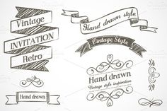 Check out Hand drawn vintage elements by Marish on Creative Market