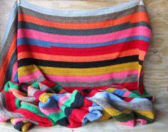 Extra Large Vintage Throw Hand Knit Afgan