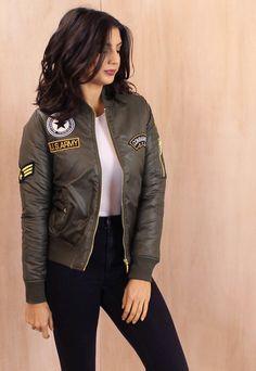 Badged MA1 Detail Padded Bomber Jacket in Khaki Green - One Nation Clothing - One Nation Clothing - 1