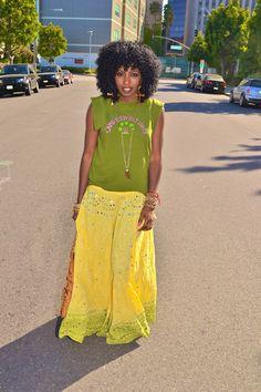 Today's outfit: Vintage Tee & Indian Sari Maxi