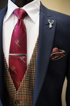 Slim fit Navy suit | Country Tweed Waistcoat | Pheasant Tie | groom suit | groomsmen suit