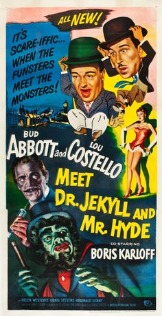 Abbott and Costello Meet Dr Jekyll and Mr Hyde (1953) Three Sheet poster #planetofpop