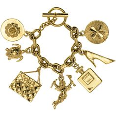 Pre-Owned Chanel Vintage 7 Icon Charm Bracelet ($1,915) ❤ liked on Polyvore featuring jewelry, bracelets, gold, turtle charm bracelet, charm bracelet, charm jewelry, gold tone charms and charm bangles