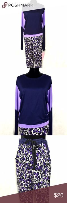 """🎉HAPPY 2017 SALE‼️ NWOT Simply Vera 2pc Jersey Knit PJ Set in size 1X. PJ top: crewneck color block long sleeve tunic in navy blue & lilac. PJ pant: elastic waistband with drawstring, 2 front pockets & tapered legs in navy/black/grey/tan cheetah print.  95% rayon 5% spandex jersey. Measurements laid flat: 28"""" chest, 27"""" top length, 28"""" sleeves, 33"""" inseam & 19-25"""" pant waist. This is from a sample sale so there's no brand hangtag but the sample sale tag is attached. No trades. Simply Vera…"""