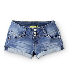 $25 These medium wash short shorts are made with a stretch denim construction for comfort and mobility, and feature specially designed contour seams for a flattering and firmer fit.
