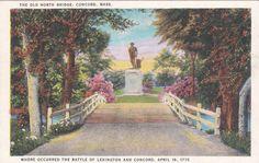 Old North Bridge, Concord, Massachusetts - Vintage Linen Postcard - Unused (C)
