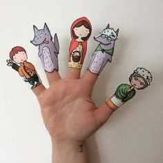 Little Red Riding Hood Paper Finger Puppets By Curmilla, Printable PDF, Capuercita, Cappuccetto Rosso Fairy Tale Activities, Preschool Activities, Art For Kids, Crafts For Kids, Paper Art, Paper Crafts, Paper Puppets, Red Hood, Finger Puppets