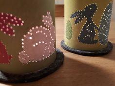 Oster-Windlichter zum Prickeln - Bastelbogen mit zwei verschiedenen Windlichtern mit Hasen und Ostereiern - schöne Osterdeko