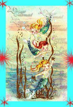 MERBABY - MERBABIES  S341 Vintage Retro Merbabies Mermaids by wwwvintagemermaidcom, $7.00
