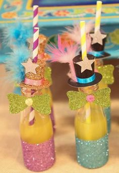 Refrescos coloridinhos Farm Themed Party, Farm Party, Carousel Birthday Parties, Circus Party, Carnival Themes, Party Themes, Kids Notes, Paper Flower Tutorial, Food Crafts