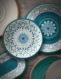 """Material: Melamine. Style (Old): Bohemian. Set Includes: 4 Dinner plates, 4 salad plates and 4 bowls. Wayfair, LLC, 4 Copley Place, Floor 7, Boston, MA 02116, United States © 2002-2015, Wayfair. Dinner Plate Depth - Front to Back: 10.5"""". 