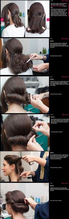DIY low roll updo … Vintage Hairstyles Tutorial, 1940s Hairstyles, Trendy Hairstyles, Wedding Hairstyles, Hairstyle Tutorials, Medium Hairstyles, Updo Hairstyle, Hairstyle Ideas, 50s Hair Tutorials