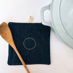 Embroidred repurposed denim and linen pot holder / trivet / oven glove by OhHelloHenry on Etsy
