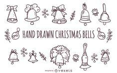 Big set of hand drawn Christmas doodles. Christmas Bells, Christmas Time, Christmas Crafts, Christmas Ornaments, Wooden Advent Calendar, Bell Design, Christmas Doodles, Card Drawing, Embroidery Motifs