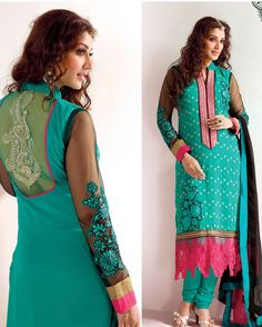 Green   Fancy Embroidered Net+Georgette Salwar Suits for women(Semi Stitched)       Fabric:   Net+Georgette       Work:   Embroidered       Type:   Salwar Suits for   women(Semi Stitched)       Color:   Green                   Fabric Top   Net+Georget
