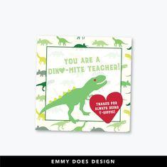 Printable Dinosaur Valentine for Teacher!  #valentine #teacher #printable   etsy.com/shop/emmydoesdesign Dinosaur Valentines, Teacher Valentine, Valentine Gifts, Printer Types, Sell On Etsy, Digital Image, Handmade Items, Printables, Holidays