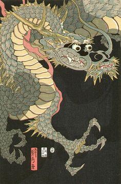 """Dragon & Tigers"" Sadahide Utagawa (1807-1873)"
