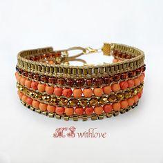 Bronze cuff bracelet orange beaded bohemian bracelet by MSwithlove