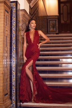 Rosalie Beaded Gown - #fitnessplanner Beaded Gown, Sequin Gown, Embellished Gown, Beaded Lace, Long Mermaid Dress, Mermaid Dresses, Red Lace Gown, Lace Dress, Revealing Dresses